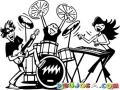 Dibujo De Una Banda De Rock Mixta Para Pintar Y Colorear
