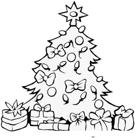 Dibujo De Arbolito De Navidad Con Regalos Para Pintar Y Colorear