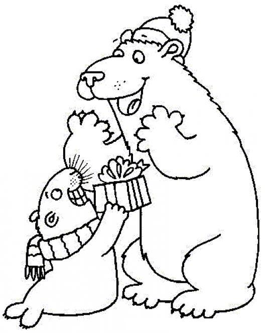 navidad en el polo norte dibujo de foca dando un regalo de navidad a un oso polar para pintar y colorear