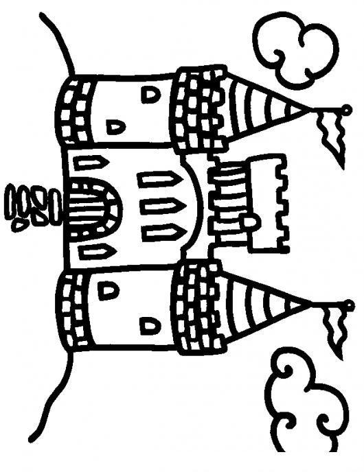 Dibujo De Castillo Vertical Para Pintar Y Colorear Colorear