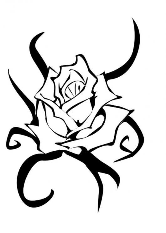 Dibujo De Un Tatuaje Con Forma De Rosa Para Tatuar Pintar Y Colorear