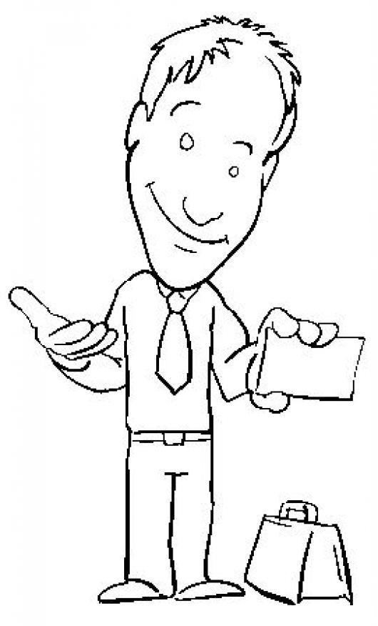 Dibujo De Un Vendedor Con Su Tarjeta De Presentacion Para