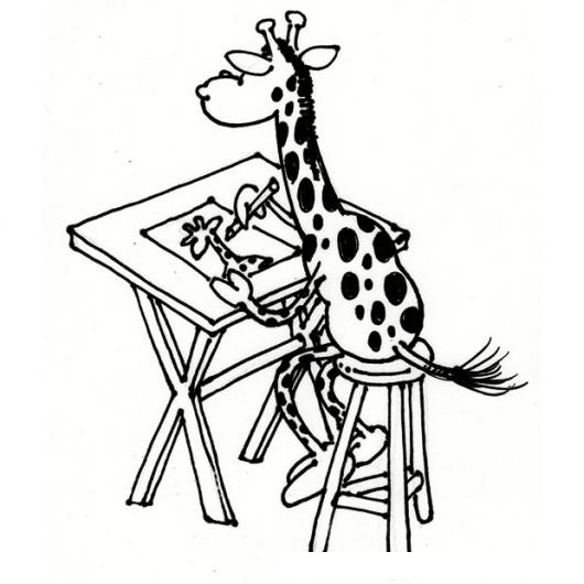 Dibujo De Una Jirafa Dibujante Dibujando Su Autoretrato Para Pintar