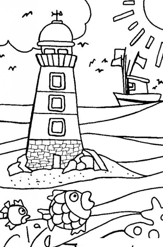Dibujo De Una Playa Con Un Faro Para Colorear   COLOREAR DIBUJOS ...