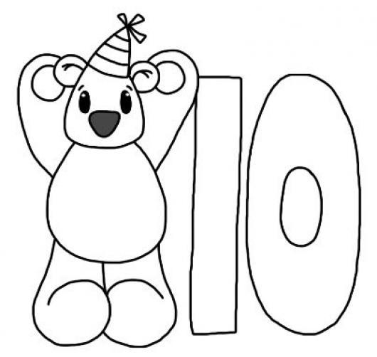 Numero 10 Dibujo Del Numero Diez Con Un Osito Para Pintar Y Colorear ...