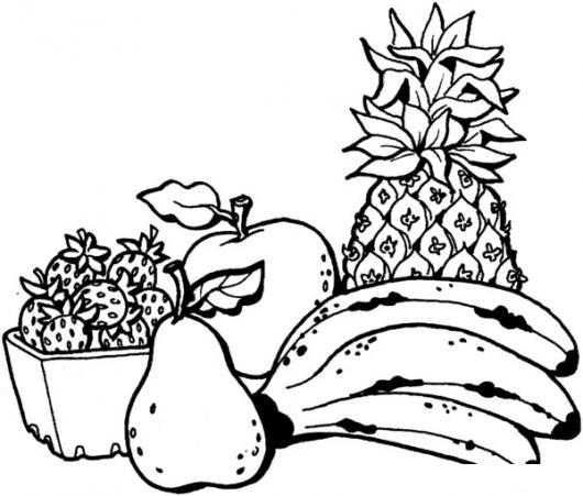 Dibujo De Frutas Para Colorear Y Pintar Fresas Bananos Pera Manzana