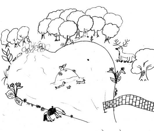 Dibujo De Una Laguna Con Un Bosque Y Animales Para Pintar Y