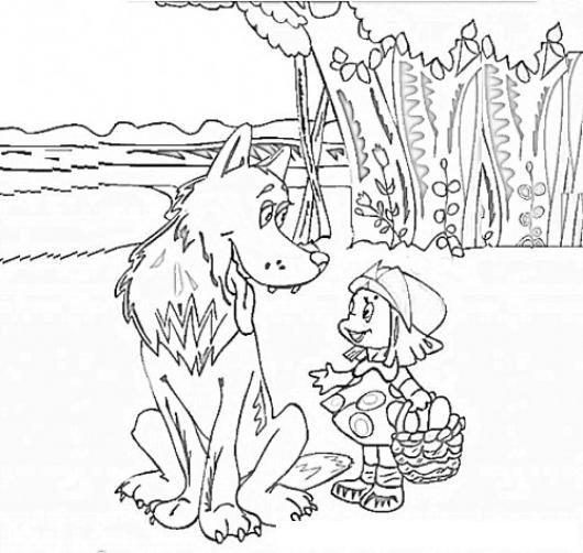 Dibujo Del Lobo y la caperucita roja para pintar y colorear ...