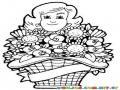 Colorear Madre con Flores