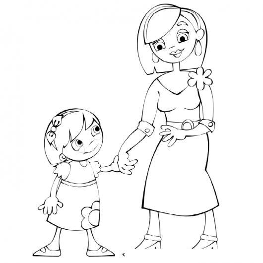 Dibujo De Hija Y Mama Para Pintar Y Colorear Colorear Dibujos