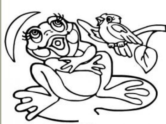 Dibujo De Rana Y Pajaro Cantando Juntos Para Pintar Y