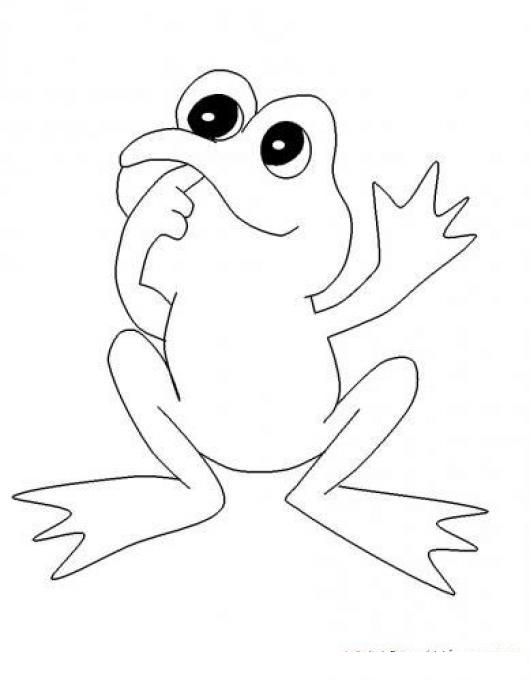 dibujo de rana con dedo en la boca dudando para pintar y colorear