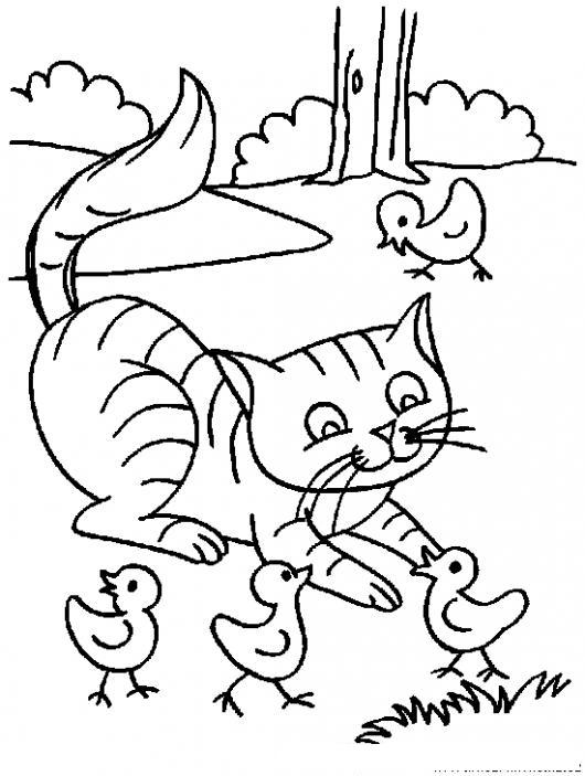 Dibujo De Gato Jugando Con Unos Pollitos Para Pintar Y Colorear