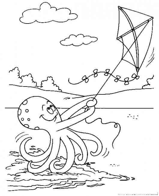 Dibujo De Pulpo Volando Cometa Para Pintar Y Colorear Pulpo Y ...