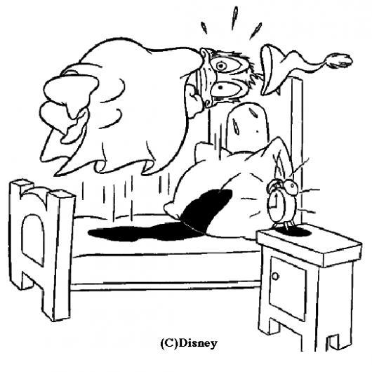 Dibujo De Pato Donald Despertando Abruptuamente Por La Alarma De Su ...