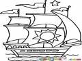Dibujo De Un Barco Con Un Sol Pintado En Una Vela Para Pintar Y Colorear
