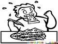 Dibujo De Gordo Cominendo Pizza Para Pintar Y Colorear