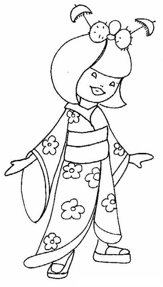 Dibujo De Chinita Con Kimono Para Pintar Y Colorear Quimono