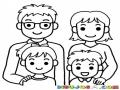 Foto Familiar Dibujo De Una Familia De 4 Integrantes Para Pintar Y Colorear Papa Mama Hija E Hijo