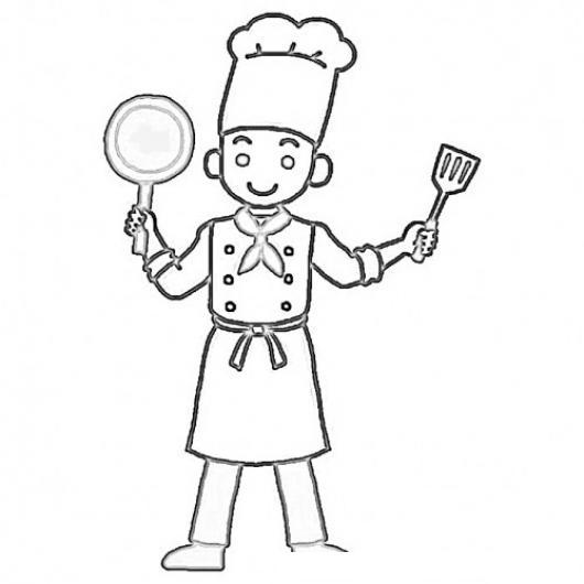 Dibujo de cocinero con un sarten y una espatula para - Sartenes chef la cartuja de sevilla ...