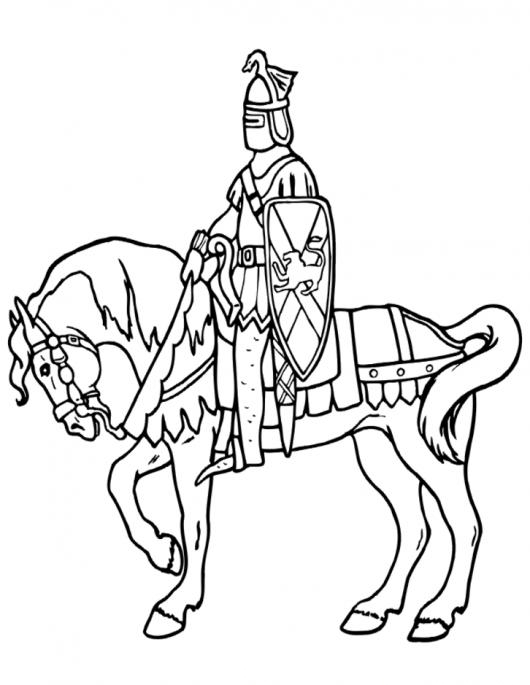 Dibujo De Caballero Con Armadura Medieval Sobre Su Caballo Para ...