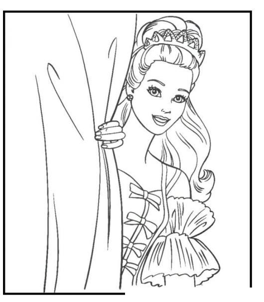 Dibujo De Una Princesa Atras De Una Cortina Para Colorear