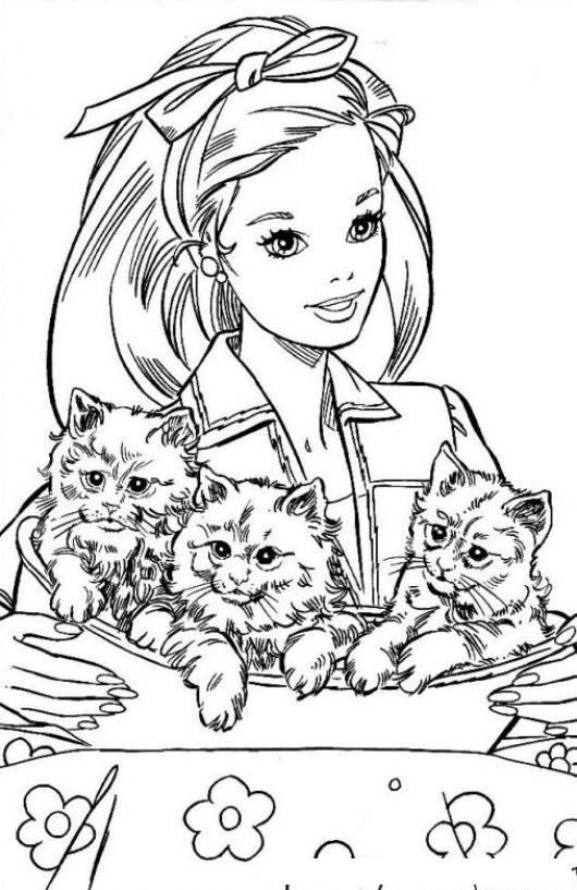 Dibujo De Barbie Con Tres Gatitos Para Colorear Princesa Con 3 Gatos ...