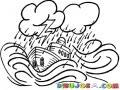 Dibujo De Un Barco En Plena Tormenta En Alta Mar Para Pintar Y Colorear