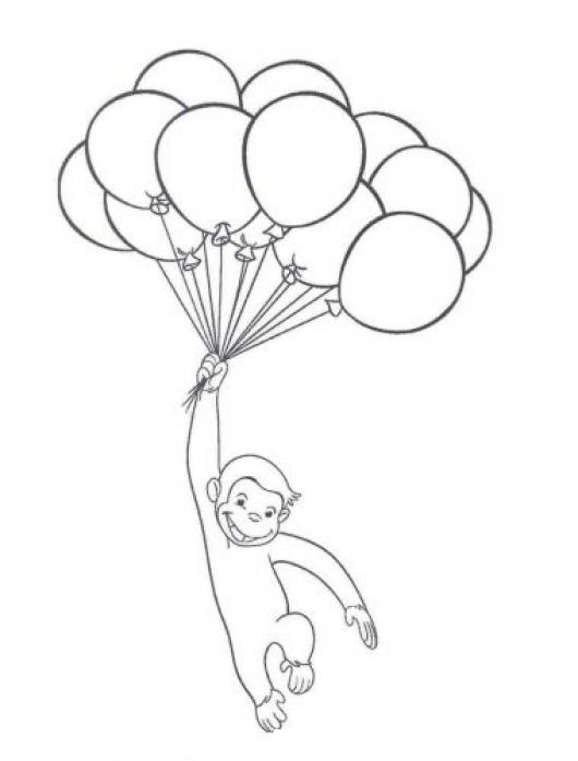 Dibujo Del Mono Jorge El Curioso Con Globos Para Pintar Y ...