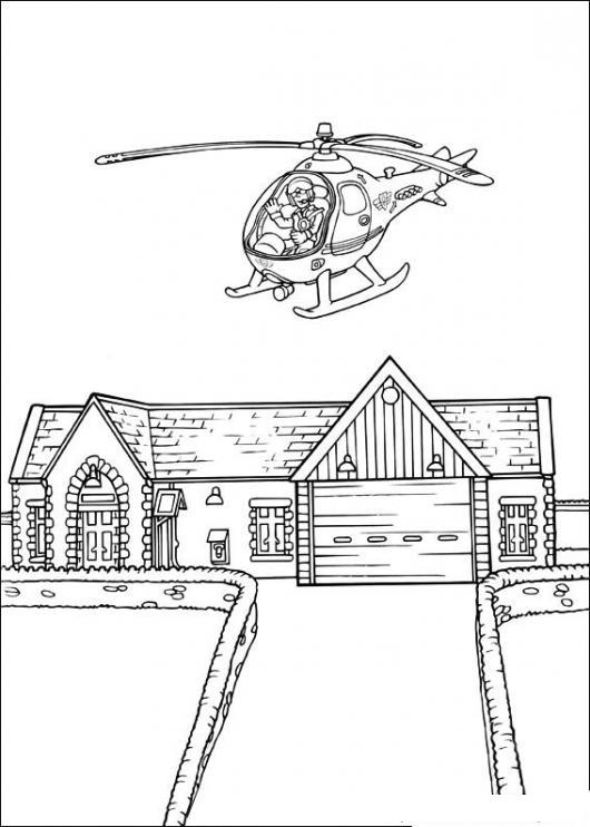 Dibujo De Rico Volando En Helicoptero Sobre Su Mansion Para Pintar Y