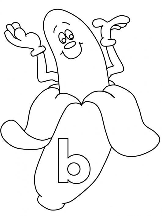 Letra B Dibujo De Un Banano Con La Letra Be Para Pintar Y Colorear