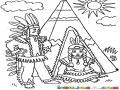 Dibujo De Un Hogar Indigena Para Pintar Y Colorear Tienda De Inditos