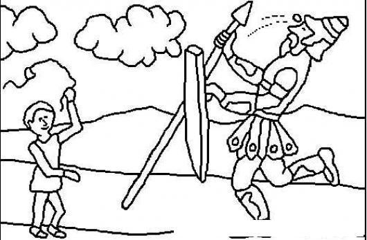 David Y Goliat Para Colorear Dibujos Cristianos Para: Colorear A David Y Goliat