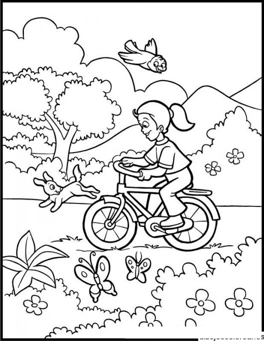 Dibujo De Chica En Bicicleta Dando Un Paseo Por El Campo Para Pintar ...