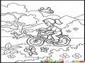 Dibujo De Chica En Bicicleta Dando Un Paseo Por El Campo Para Pintar Y Colorear