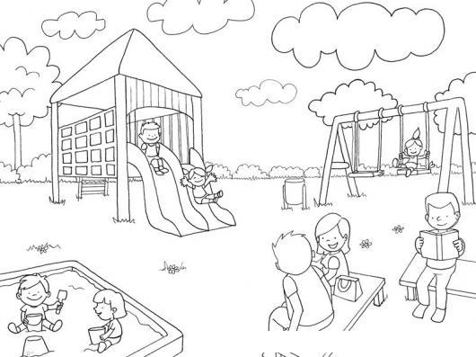 Dibujo De Un Parque Infantil Con Juegos Para Pintar Y Colorear ...