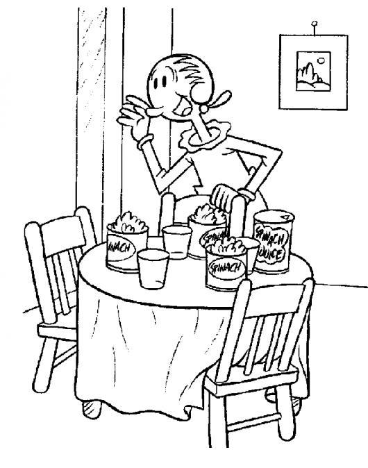 Dibujo de olivia novia de popeye sirviendo espinaca en la for Comedor para dibujar