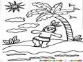 Dibujo De Indito En Una Isla Para Pintar Y Colorear