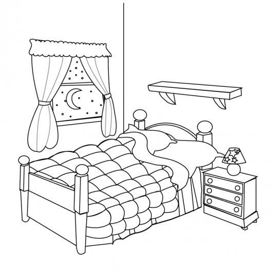 dibujo de un cama en una habitacion para pintar y colorear