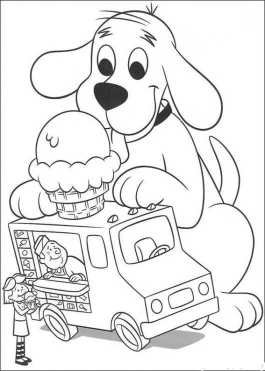 Perro Gigante Comiendo Helado Para Pintar Y Colorear A Cliford El