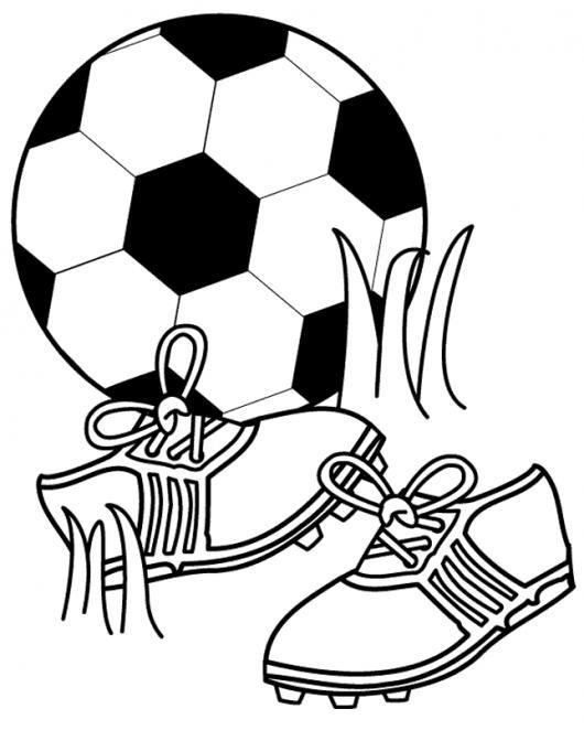 Dibujo De Pelota Y Zapatos De Futbol Para Pintar Y Colorear Balon De