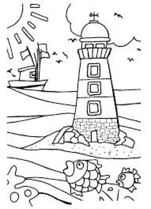Dibujo De Un Faro En La Playa Para Pintar Y Colorear   COLOREAR ...