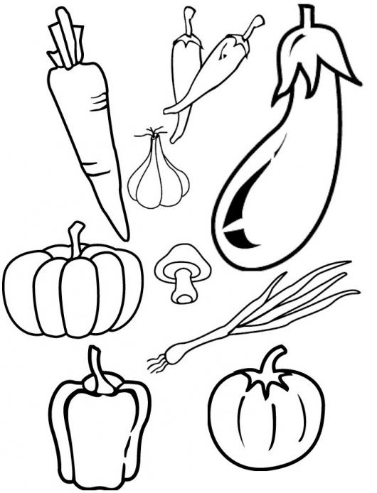 Colorear Vegetales Dibujo De Zanahoria Ajo Chikes Berenjena Hongo