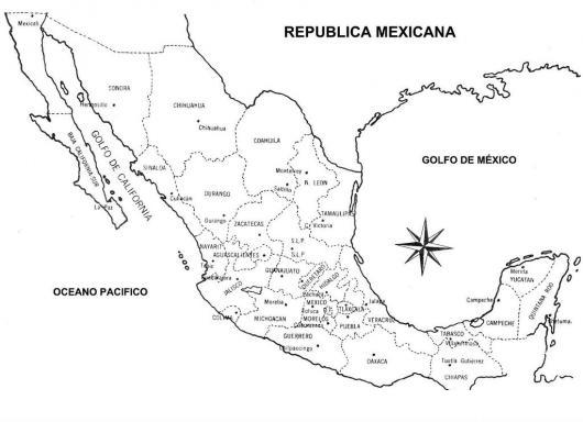Mapa De La Republica Mexicana Con Division Politica Para Pintar Y ...