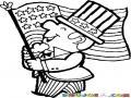 Dibujo De Amreicano Patriota Celbrando El 4 De Julio Con La Bandera De Estados Unidos Para Pintar Y Colorear