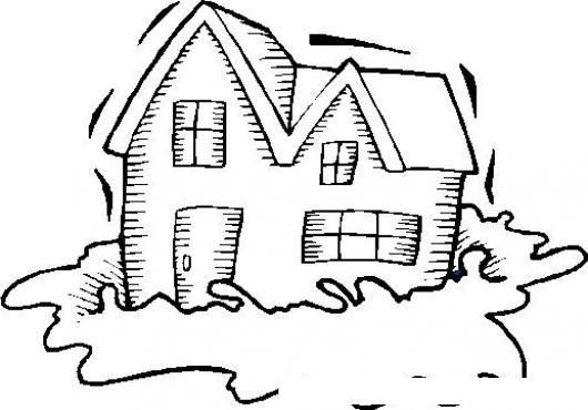 Casa En Un Charco Dibujo De Casa Sobre Agua Para Pintar Y Colorear ...