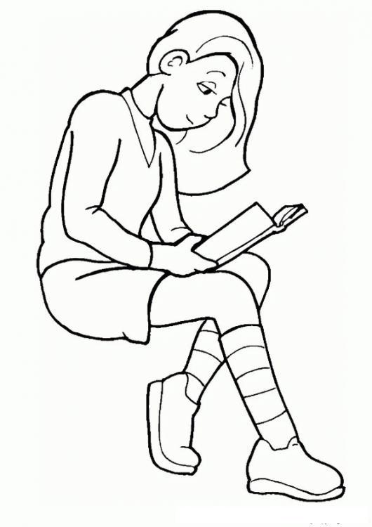 Dibujo De Una Chica Leyendo Un Libro Para Pintar Y Colorear ...