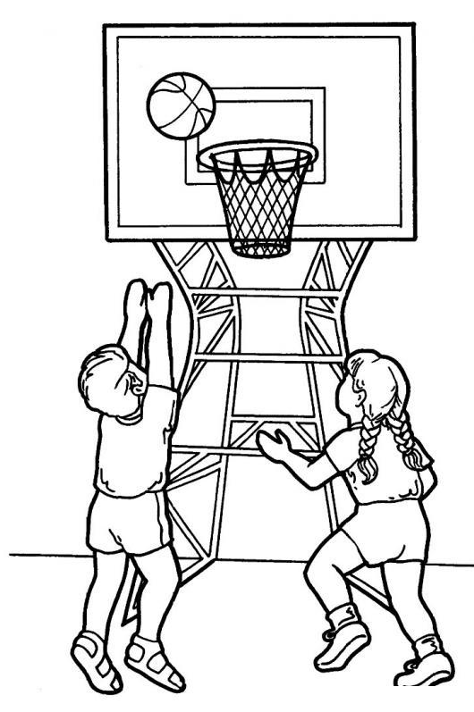 Colorear Juego De Baloncesto Ninos Jugando Basketball En Pelota De ...