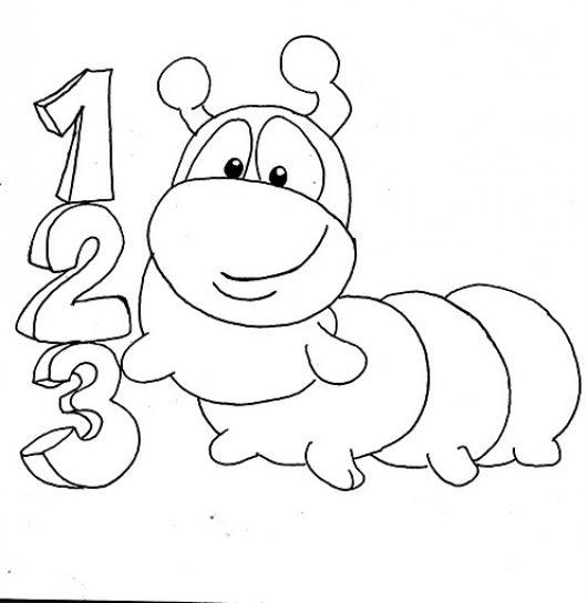 Colorear Numeros 123 Del 1 Al 3 Con Un Gusanito Colorear Dibujos