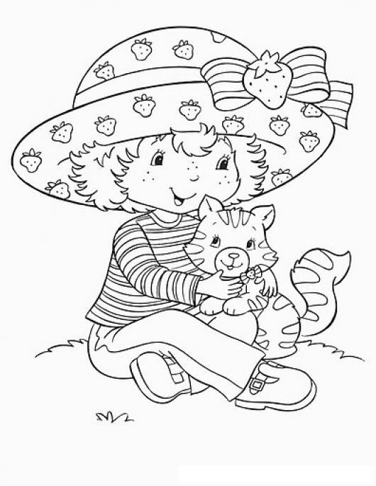 Colorear Rosita Fresita Con Un Gatito Colorear Dibujos De